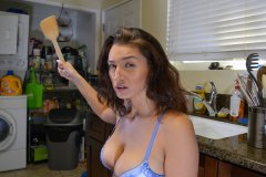 Bella Rolland Gives Spanking in Kitchen